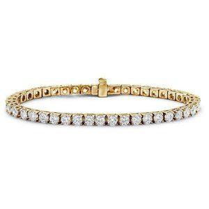 Yellow gold 14k prong set 5.90 carats diamonds Ten